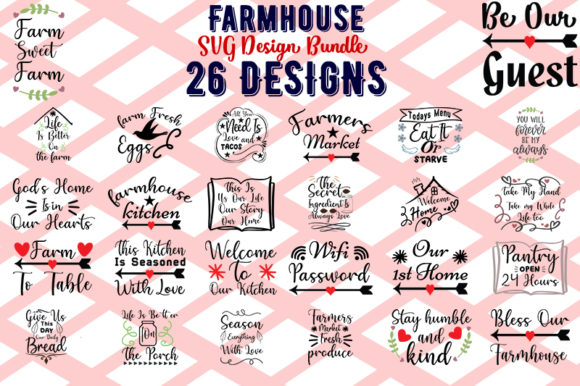 Download Free Farmhouse Svg Bundle Graphic By Design Store Creative Fabrica for Cricut Explore, Silhouette and other cutting machines.