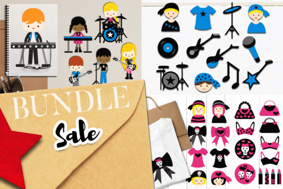 Print on Demand: Funky Rockstar Bundle Graphic Illustrations By Revidevi