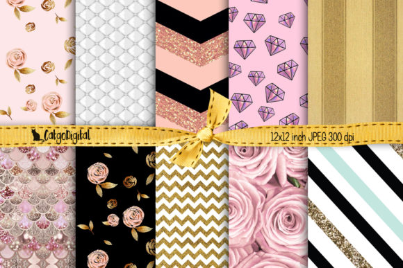 Print on Demand: Girly Background Papers Scrapbooking Graphic Crafts By CatgoDigital