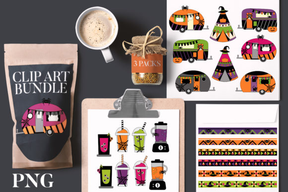 Print on Demand: Halloween Caravan Bundle Graphic Illustrations By Revidevi