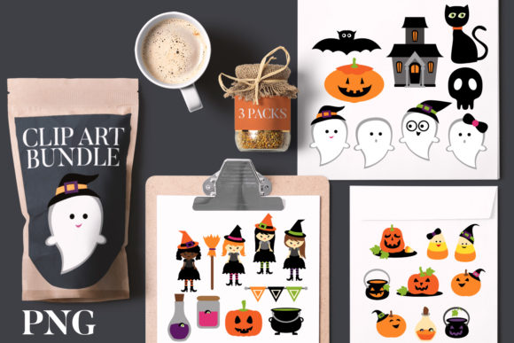 Print on Demand: Halloween Ghost Party Bundle Graphic Illustrations By Revidevi