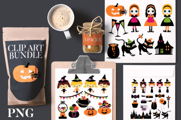 Print on Demand: Halloween Witch Night Bundle Graphic Illustrations By Revidevi
