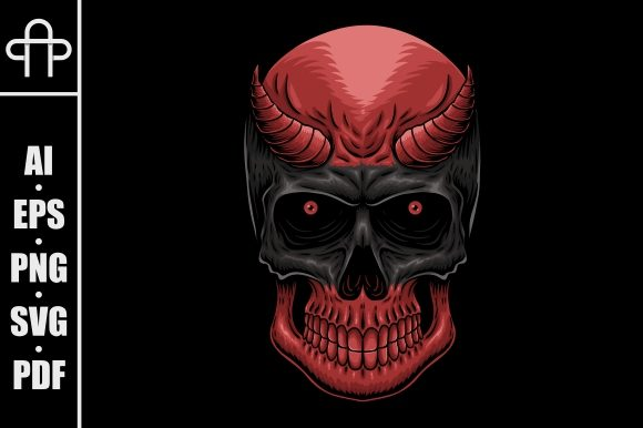 Print on Demand: Head Demon Skull Vector Illustration Graphic Illustrations By Andypp