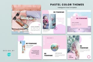 Instagram Feed Template - Pastel Color Graphic Presentation Templates By 57creative