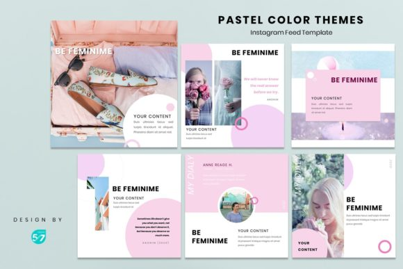 Instagram Feed Template - Pastel Color Graphic Presentation Templates By maju57creative