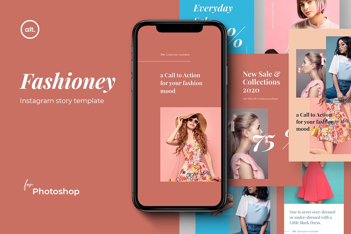 Download Free Instagram Story Template Fashioney Graphic By Alterdecostudio for Cricut Explore, Silhouette and other cutting machines.