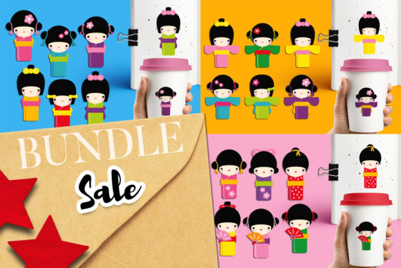 Print on Demand: Japanese Kimono Girls Bundle Graphic Illustrations By Revidevi