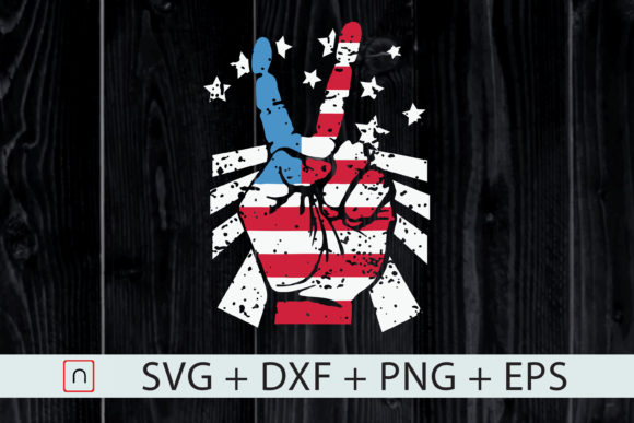 July 4th American Flag Peace Sign Hand Graphic By Novalia