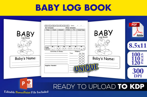 Print on Demand: KDP Interior Baby Log Book Editable  Graphic KDP Interiors By Beast Designer