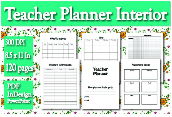 Print on Demand: KDP Interior Teacher Planner Interior Graphic KDP Interiors By Ivana Prue - Image 1