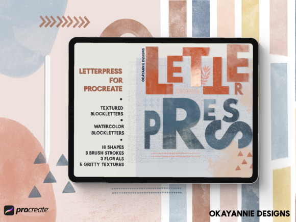 LetterPress Brushes for Procreate Graphic Brushes By OkayAnnie Designs