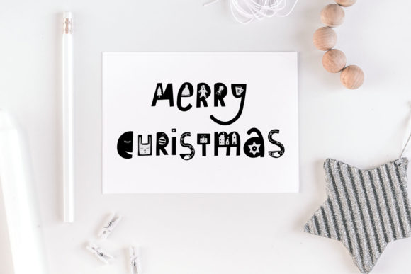 Merry Christmas Lettering with Doodles Graphic Illustrations By RedDotsHouse