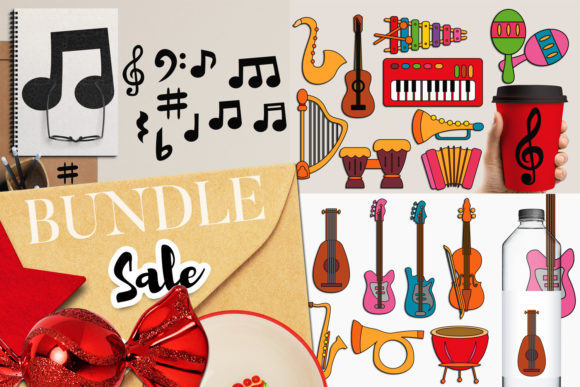 Print on Demand: Music Instruments Bundle Graphic Illustrations By Revidevi