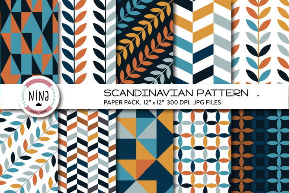 Nordic Digital Paper Graphic Patterns By Nina Prints