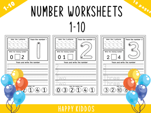 Number Worksheets 1-10 Graphic K By Happy Kiddos