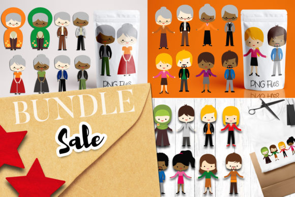 Download Free Old And Young People Bundle Graphic By Revidevi Creative Fabrica for Cricut Explore, Silhouette and other cutting machines.