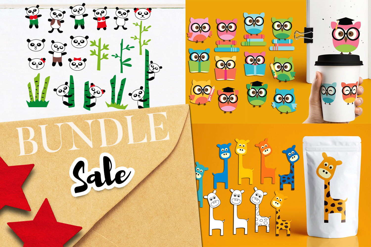 Download Free Owl Giraffe Panda Bundle Graphic By Revidevi Creative Fabrica for Cricut Explore, Silhouette and other cutting machines.
