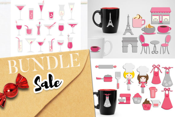 Download Free Paris Cafe And Drinks Bundle Graphic By Revidevi Creative Fabrica for Cricut Explore, Silhouette and other cutting machines.