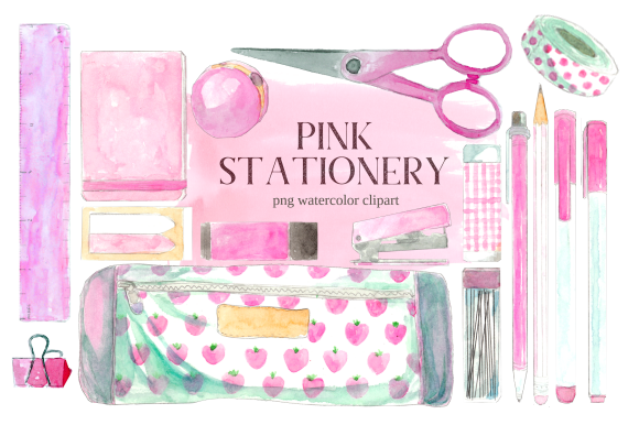 Print on Demand: Pink Back to School Stationery Clipart Graphic Illustrations By roselocket