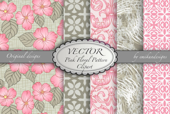 Pink and Grey Floral Pattern Collection Graphic Patterns By emikundesigns
