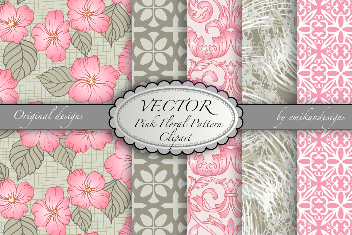 Download Free Pink And Grey Floral Pattern Collection Graphic By Emikundesigns for Cricut Explore, Silhouette and other cutting machines.