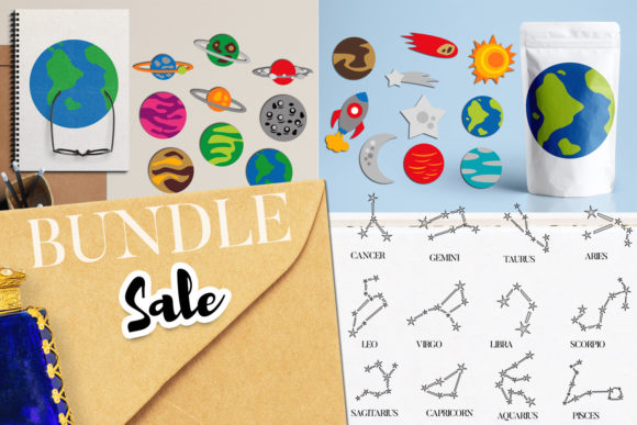 Print on Demand: Planets and Stars Bundle Graphic Illustrations By Revidevi