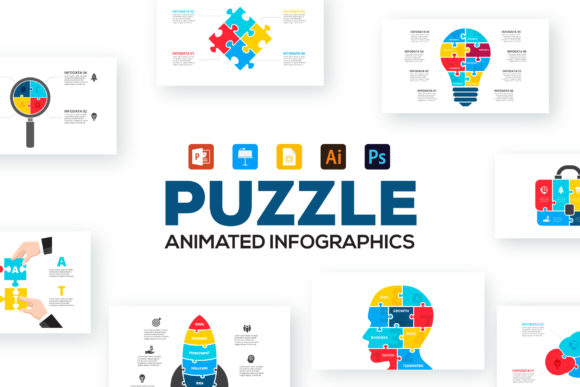 Download Free Puzzle Animated Infographics Graphic By Infostore Creative Fabrica for Cricut Explore, Silhouette and other cutting machines.