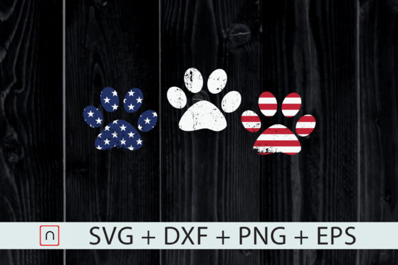 Print on Demand: Red White Blue Dog Paws 4th of July Graphic Print Templates By Novalia