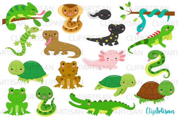 Reptiles and Amphibians Clip Art Graphic Illustrations By ClipArtisan