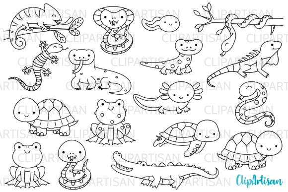 Reptiles and Amphibians Digital Stamps Graphic Illustrations By ClipArtisan