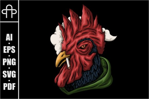 Print on Demand: Rooster Smoking Vector Illustration Graphic Illustrations By Andypp