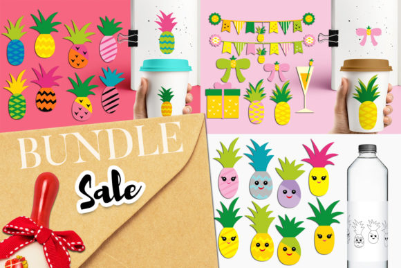 Print on Demand: Summer Pineapple Party Bundle Graphic Illustrations By Revidevi