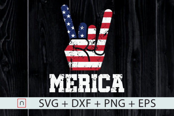 Download Free Usa Flag Merica Rock Sign 4th Of July Graphic By Novalia SVG Cut Files