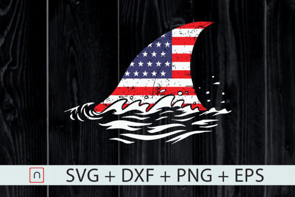Print on Demand: USA Flag Shark for Patriotic 4th of July Graphic Print Templates By Novalia