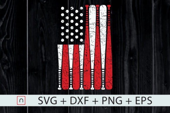 Print on Demand: VIntage Baseball Bat American USA Flag Graphic Print Templates By Novalia