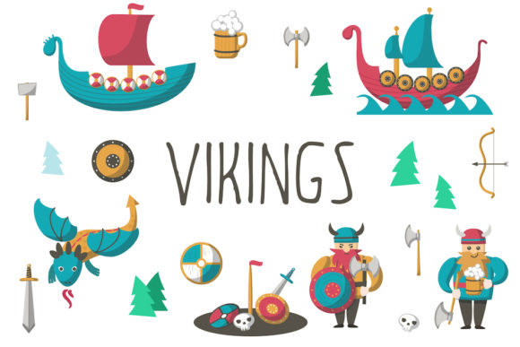 Download Free Vikings Cartoon Set And Patterns Graphic By Siberianart for Cricut Explore, Silhouette and other cutting machines.