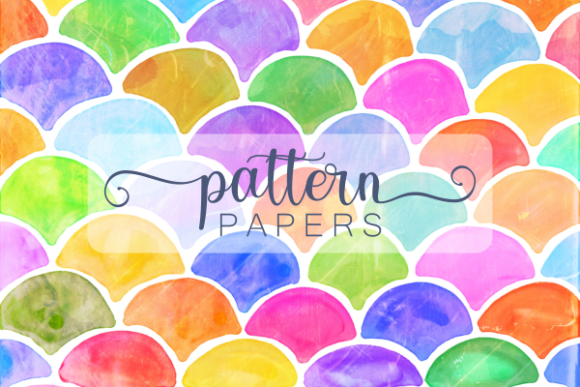 Print on Demand: Watercolor Ink Doodle Pattern Papers Gráfico Fondos Por Prawny