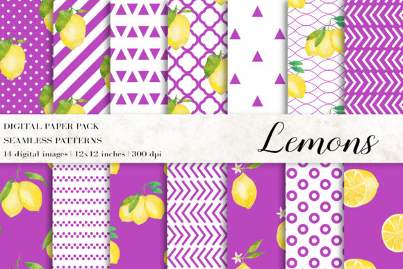 Download Free Watercolor Lemons Digital Papers Graphic By Bonadesigns Creative Fabrica for Cricut Explore, Silhouette and other cutting machines.