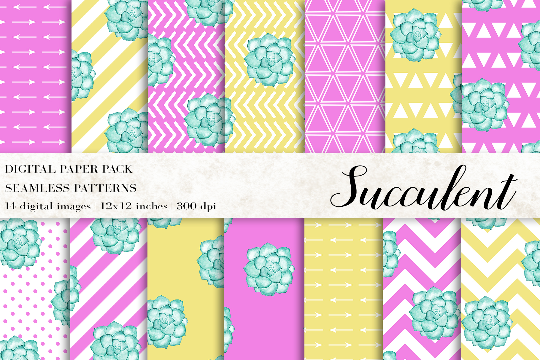 Download Free Watercolor Succulent Digital Papers Graphic By Bonadesigns for Cricut Explore, Silhouette and other cutting machines.