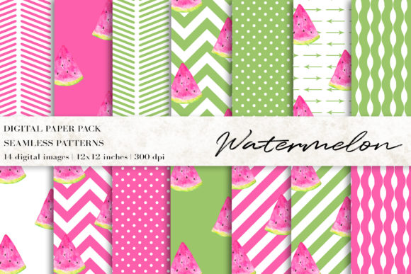 Watercolor Watermelon Digital Papers Graphic Patterns By BonaDesigns