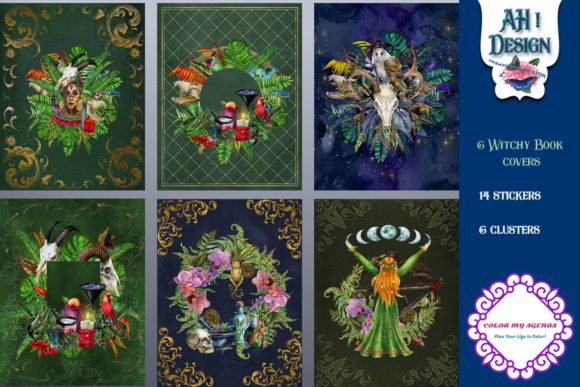Download Free Witchy Book Cover And Art Collection Graphic By Ahdesign for Cricut Explore, Silhouette and other cutting machines.