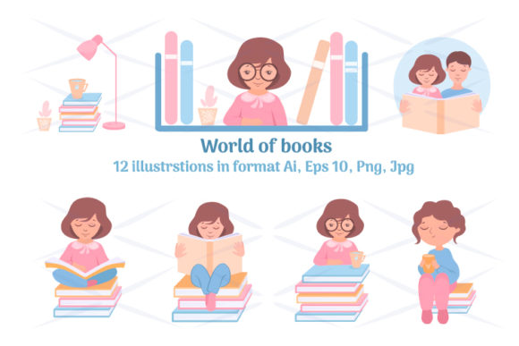 """World of Books Graphic Illustrations By Design studio """"Create with joy"""""""