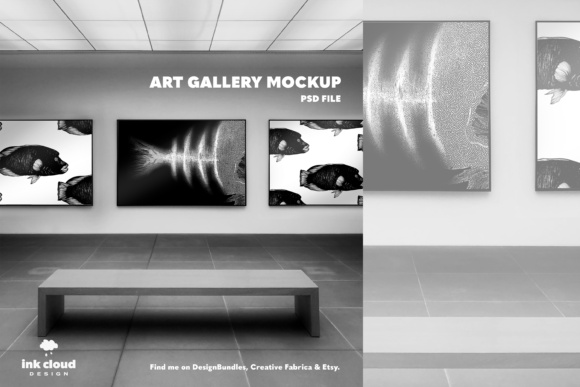Download Free 3 Horizontal Posters Art Gallery Mock Up Graphic By for Cricut Explore, Silhouette and other cutting machines.