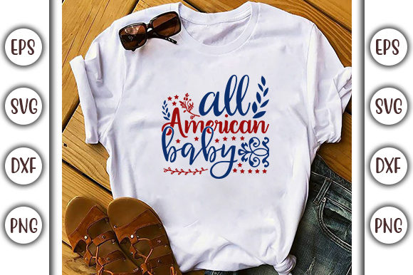 Print on Demand: 4th of July Design, All American Baby Graphic Print Templates By GraphicsBooth