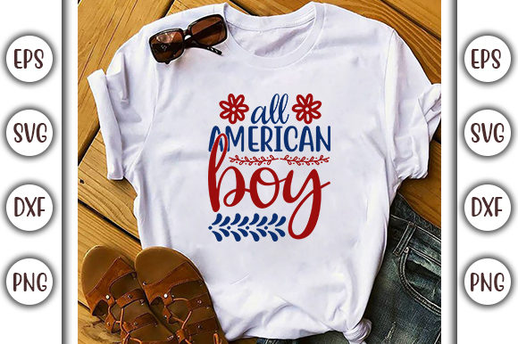 Print on Demand: 4th of July Design, All American Boy Graphic Print Templates By GraphicsBooth