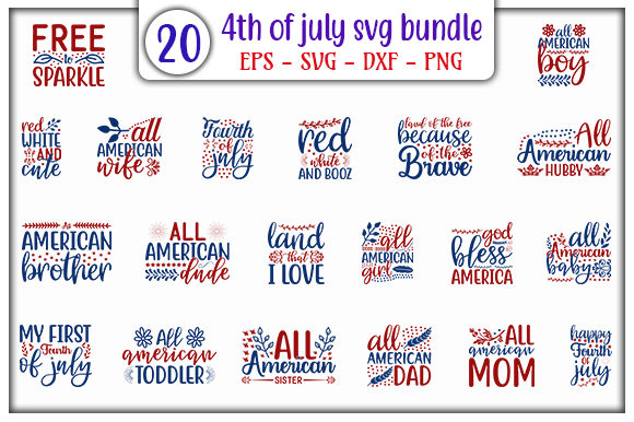 Download Free 4th Of July Design Bundle Graphic By Graphicsbooth Creative for Cricut Explore, Silhouette and other cutting machines.