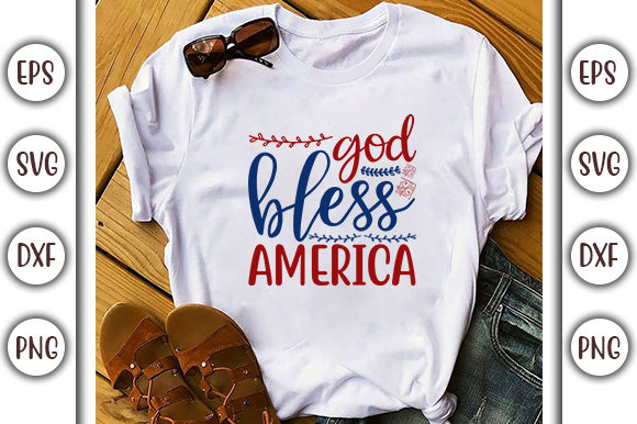 Print on Demand: 4th of July Design, God Bless America Graphic Print Templates By GraphicsBooth