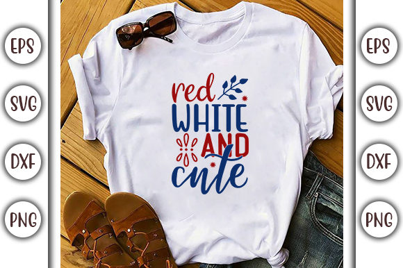 Print on Demand: 4th of July Design, Red, White and Cute Graphic Print Templates By GraphicsBooth