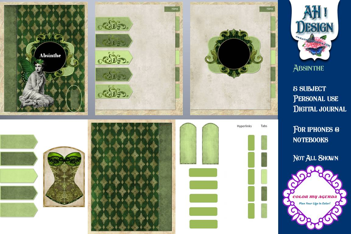 Download Free Absinthe Digital Notebook Journal Graphic By Ahdesign Creative SVG Cut Files
