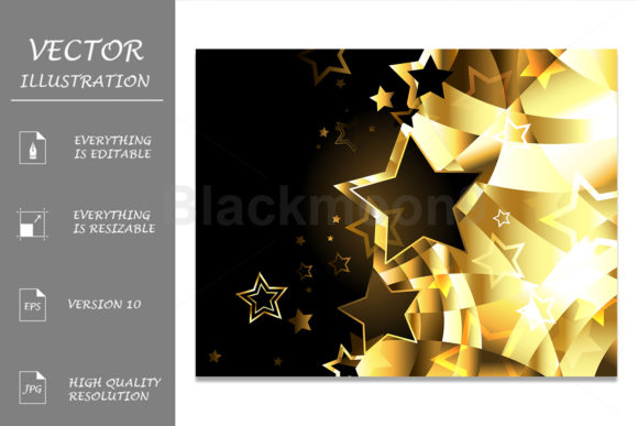 Abstract Golden Background with Stars Graphic Illustrations By Blackmoon9